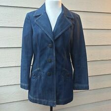 J. Jill Oversized Blue Denim Blazer Jacket Women's Long Sleeve Lined Sz XS