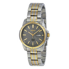 Seiko Solar Gray Dial Two-Tone Stainless Steel Mens Watch SNE098