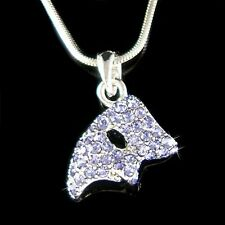 w Swarovski Crystal Purple Phantom of the Opera Masquerade Mask Pendant Necklace
