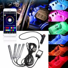 4x 9LED Phone App Control Colorful RGB Car Interior Floor Atmosphere Light Strip