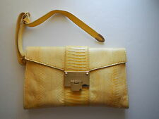 JIMMY CHOO Yellow Elaphid Snake Skin Envelope Style RIVERA Clutch Wristlet NWT