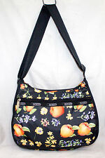 "LE SPORTSAC 8"" X 12"" Black Apples & Pears Everyday Crossbody Shoulder Bag"