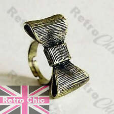 BIG 3D METAL BOW RING vintage brass KITSCH ribbed effect alice ribbon adjustable