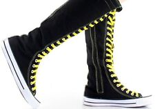 Womens Canvas Sneaker Punk Flat Tall Lace Up  Knee High Boot Skater Shoe Sz 5-10
