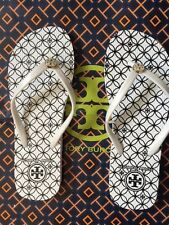 L@@K! Size 7 New Tory Burch Thin Strap Flip Flops Sandals Flats Black/White Reva