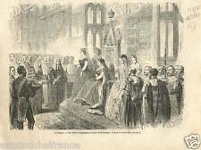Queen Victoria Parliament London House of Lords Londres GRAVURE OLD PRINT 1867