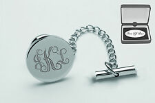 PERSONALIZED SILVER STAINLESS STEEL TIE PIN TACK CHAIN CUSTOM ENGRAVED FREE