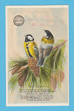 CLARKS COTTON - ADVERTISING / SONG BIRDS CARD - TOMTITS  -  C 1880's