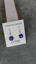 Stering Silver Square Shape Blue Murano Glass Earrings Dobbs Boston Italy