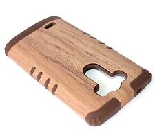 For LG G3 - HARD & SOFT RUBBER HYBRID ARMOR SKIN CASE COVER BROWN WOOD OAK TREE