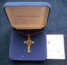 CAMROSE&KROSS JACKIE KENNEDY GOLD TONE SIMULATED RUBY CROSS NECKLACE