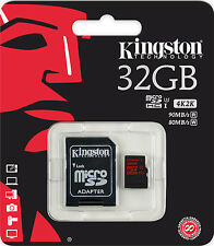 Kingston Micro SDHC Karte 32GB Speicherkarte Class 10 U3, 3D, 4K, 1080p - 90MB/s