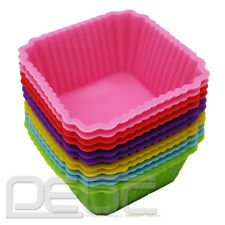12pcs Silicone Square Cake Muffin Chocolate Cupcake Liner Baking Cup Mould New