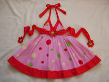 EUC LOLA ET MOI Pink & Red Polka Dot Halter Dress 6 7 Flower Appliques 5 8 Beach