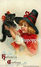Fabric Block Vintage Halloween Postcard Image Small Witch