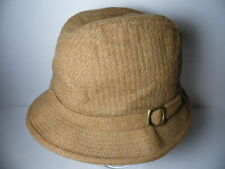Vintage CUSTOM MADE BEE HATS MENS FEDORA Camel Light Brown HAT CAP Size LARGE