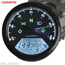 12000RPM KMH MPH LCD Digital Odometer Motorcycle Speedometer TachometerUniversal