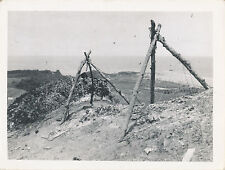 1940s WWII USMC Pacific Theater Marines top of hill , tripods, wire Photo