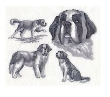 Completed Embroidery Sketch Style Saint Bernard Dog