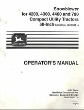 JOHN DEERE SNOWBLOWER for 4200 4300 4400 790 COMP TRACTOR  OPERATOR'S MANUAL jd