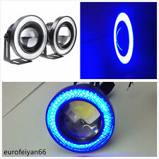 "2 Pcs 2.5"" Blue LED COB Angel Eye Halo Rings Vehicles Fog Lights Running Lamps"