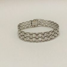 "Stunning 14K White Gold Panther Link 7.25"" Bracelet - Excellent Made in Italy"