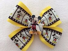 """Girls Hair Bow 4"""" Wide Mickey Mouse Ribbon Yellow Flatback Alligator Clip"""