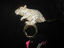 BETSEY JOHNSON RARE BLING MOUSE RUNWAY RING SIZE 7 1/2