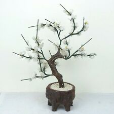 "Glass Artificial Flowers Bonsai Plant - White Green Porcelain Pot 14""H New"
