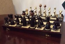 Vintage Russian Wooden Hand Painted Chess Set with Folding Storage Board