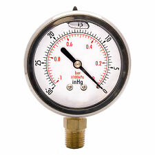 "2-1/2"" Oil Filled Vacuum Pressure Gauge - SS/Br 1/4"" NPT Lower Mount -30HG/0"