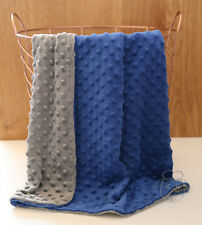 *Special*Dark Blue Grey Dot Minky Baby Blanket Stroller Pram Crib Shower Gift