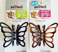 Scunci 36179 Butterfly Jaw Clip - No-Slip Grip for Fine Hair - 2 Pk Black/Brown