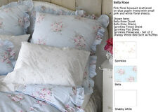 Rachel Ashwell Shabby Chic Bella Rose Blue Ruffle  Ruching Duvet King New sealed