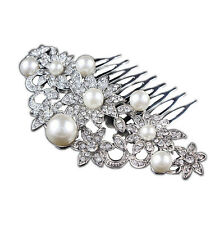 Vintage White Large Size Pearls Hair Decoration Comb Wedding Corsage Prom HA196
