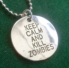 KEEP CALM AND KILL ZOMBIES disc ball chain pendant necklace silver plate
