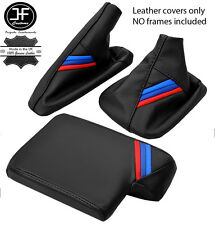 BLACK LEATHER M STRIPES GEAR HANDBRAKE ARMREST COVER FOR BMW E90 E91 E92 E93