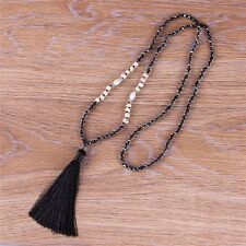 KELITCH New Jewelry Black Tassel Crystal Beaded Light Water Pearl Necklaces Gift