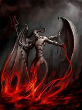 ART PRINT PAINTING DEVIL DEMON FIRE CHAIN TRIDENT WINGS HORNS MONSTER LFMP0205