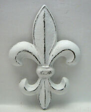 Fleur de lis Cast Iron Distressed Bright White Shabby Chic Wall Decor Paris FDL