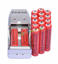 16X AAA 3A 1800mah1.2V NiMH rechargeable  batterie  Rouge +USB Chargeur