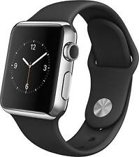 Apple Watch MJ3U2LL/A 42mm Smartwatch (Stainless Steel Case, Black Sport Band)