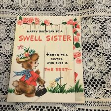 Vintage Greeting Card Birthday Bear And Sister Fence Flowers