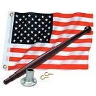 12 x 18 United States / American Flag Kit for Boats - Flag, Pole and Holder