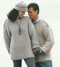"Ladies Mens Knitting Pattern Chunky Sweater Hat. Easy Knit 28-44""  212"