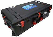 Black with Red handles & Latches Pelican 1615 Air case No Foam.  With wheels.