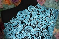 G30 aqua blue Guipure Lace bridal lace 120cm wide-Sold  by 1/2 yard