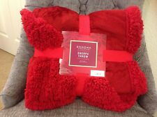 NWT THICK PLUSH VELVETY THROW REVERSES WARM COZY SHERPA BLANKET GARNET RUBY RED
