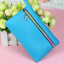 Fashion Blue Women Girl PU Key Phone Coin Change Bags Purse Wallet Case Wristlet