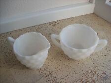 Vintage Milk Glass Opaque White Sugar & Creamer Cube Hazel Atlas Early American